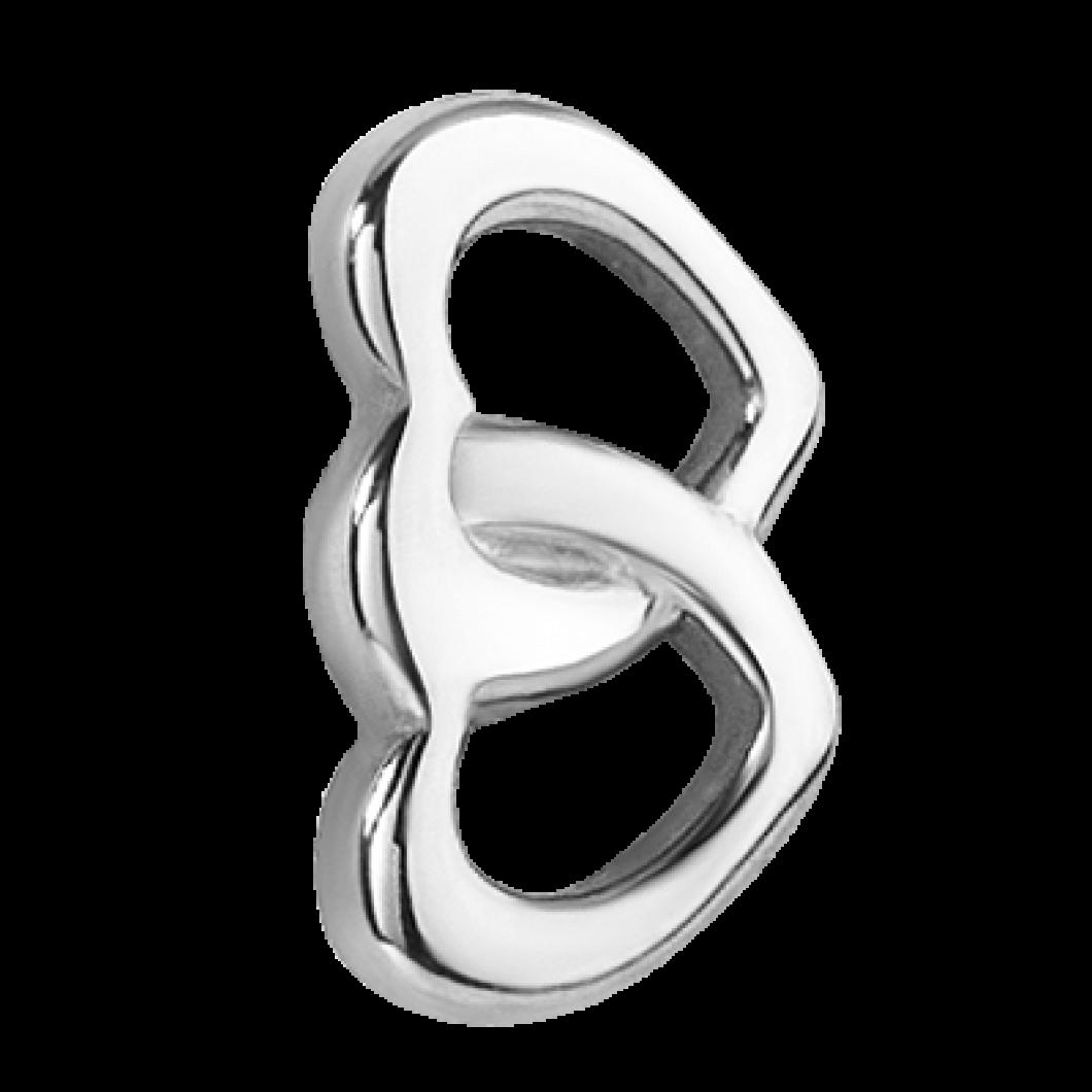 Браслет на ленте с шармиком «Два сердца»