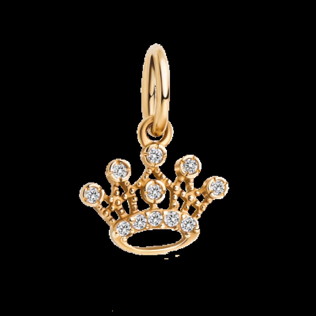 Браслет на ленте с шармиком «Корона с камушками»