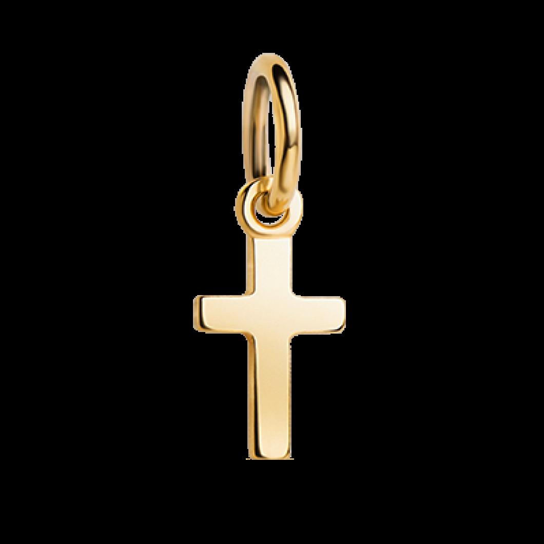 Кулон вертикальный с шармиком «Крестик» серебро 925