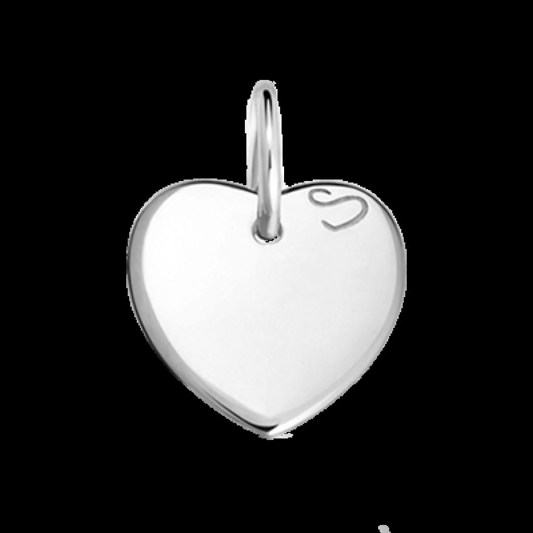 Подвеска «Сердце мини» с шармиком «Корона с камушками» серебро 925