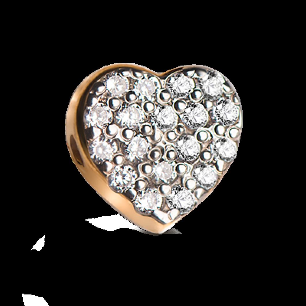 Браслет с шармиками «Девочка и сердце с камушками»