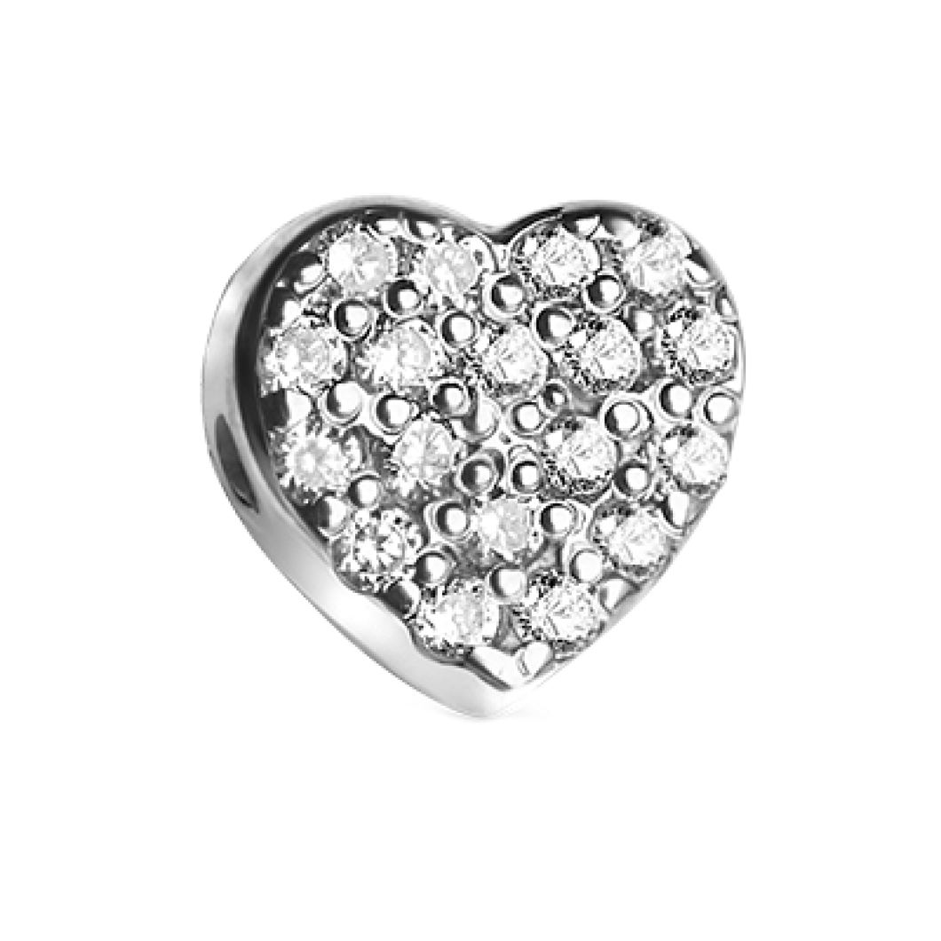 Браслет с шармиком «Сердце с камушками»