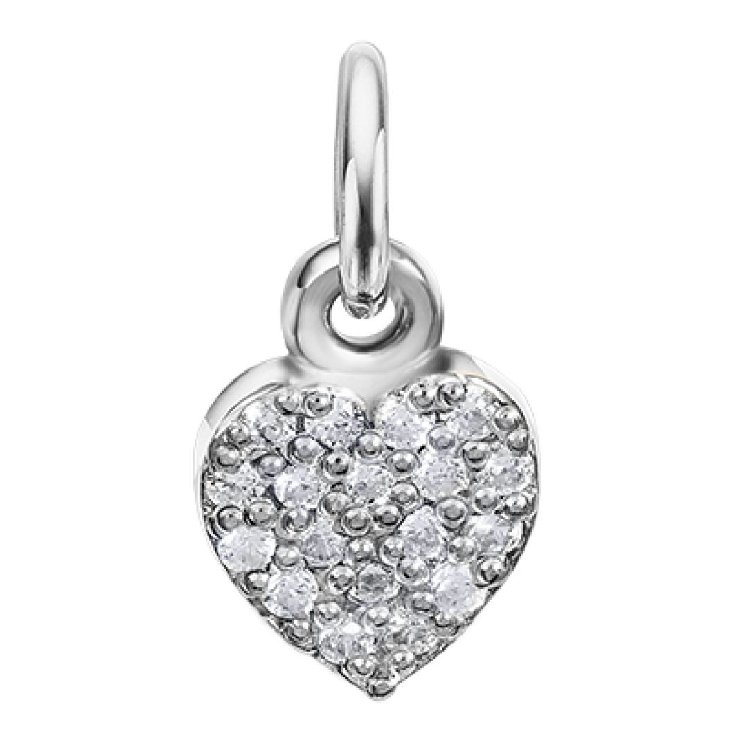 Подвеска «Маленькое сердце с шармиком сердце с камушками» серебро 925
