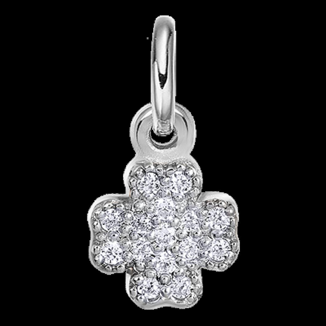 Подвеска «Сердце мини» с шармиком «Клевер с камушками» серебро 925