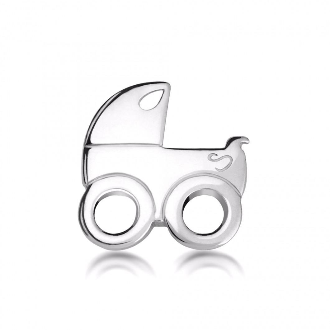 Подвеска «Детская коляска» серебро 925