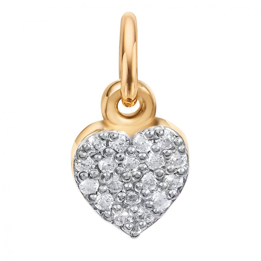 Подвеска «Девочка» с шармиком «Сердце с камушками» серебро 925