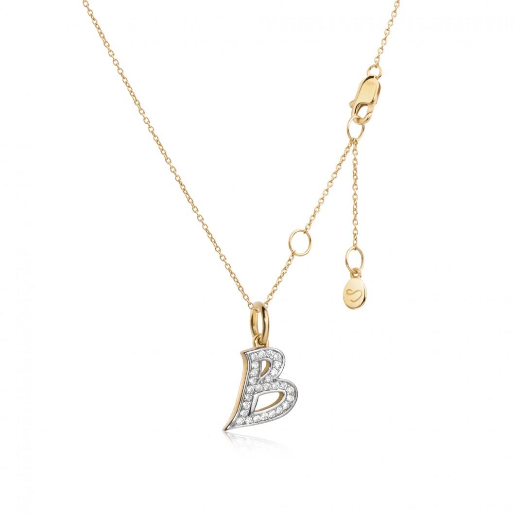 Подвеска буква «В» серебро 925