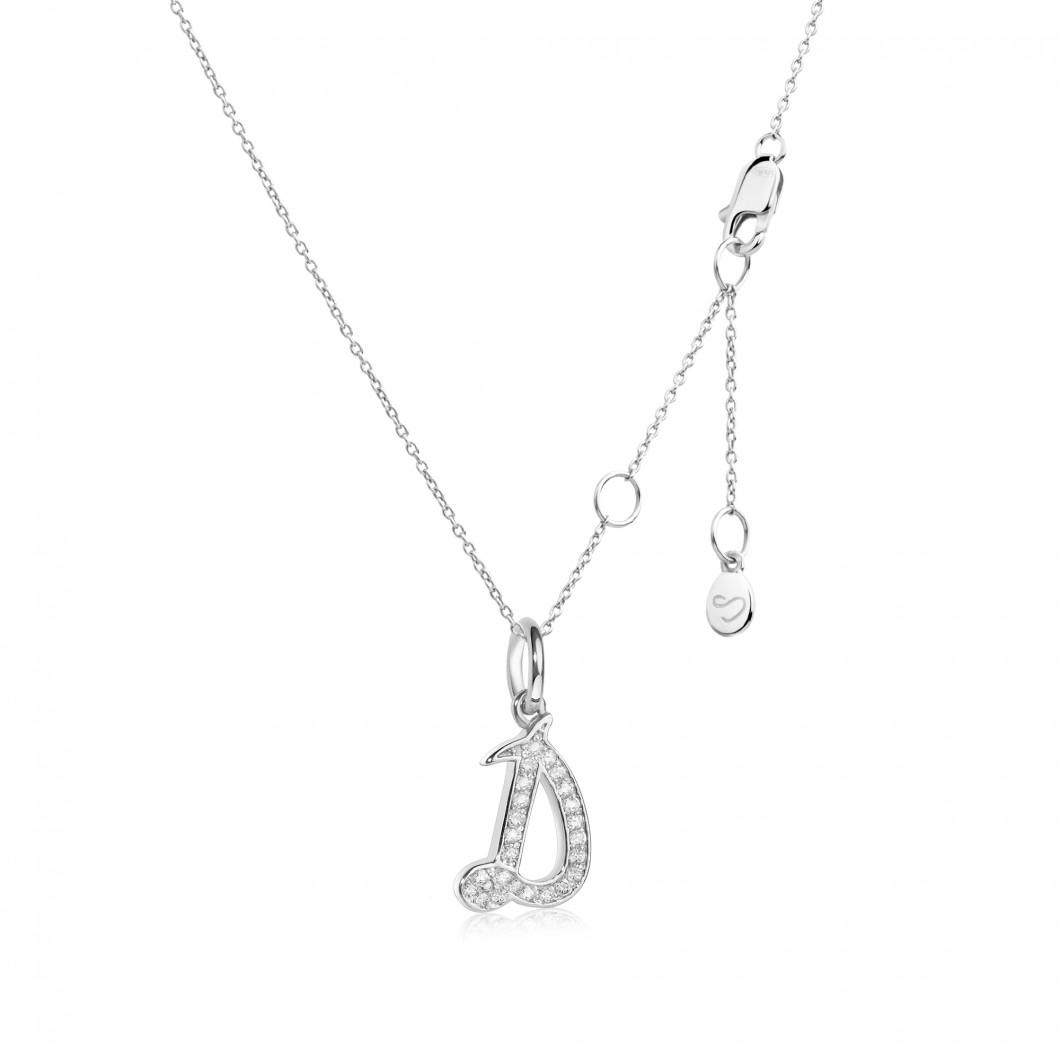 Подвеска буква «Д» серебро 925