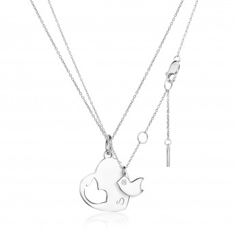 Парная подвеска «Сердце и птичка» серебро 925