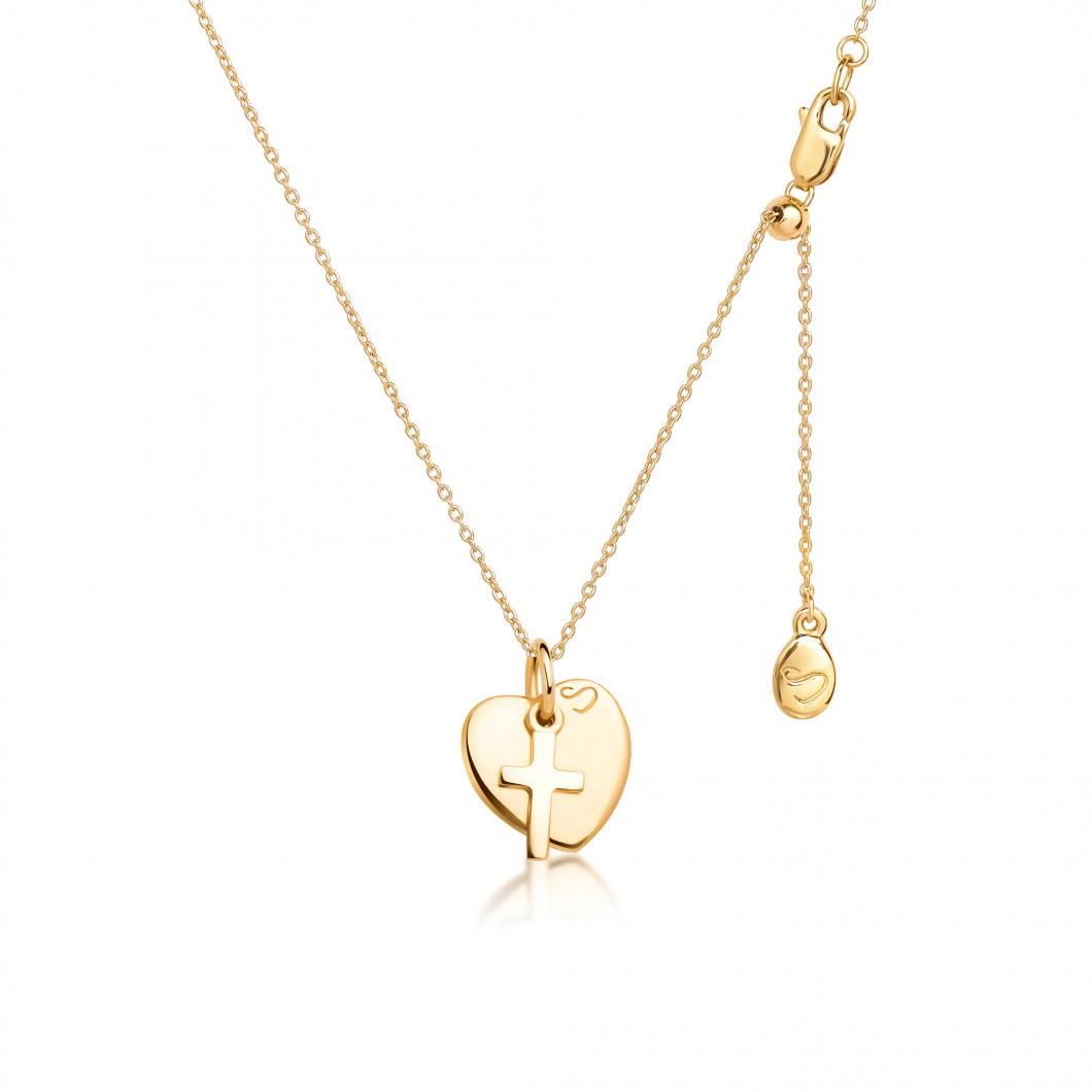 Подвеска «Сердце мини» с шармиком «Крестик» серебро 925