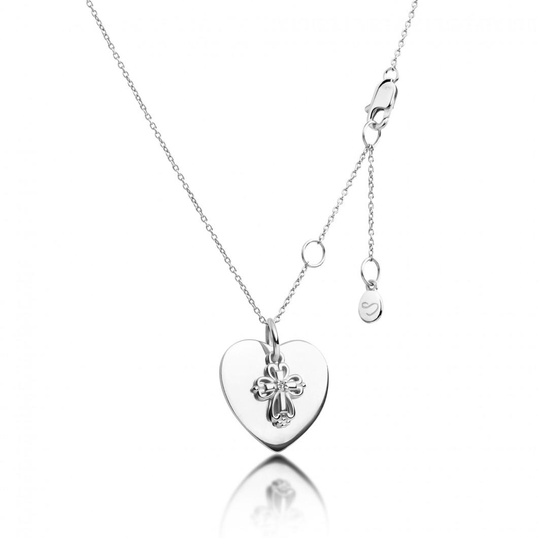Подвеска «Сердце» с шармиком «Ажурный крестик» серебро 925