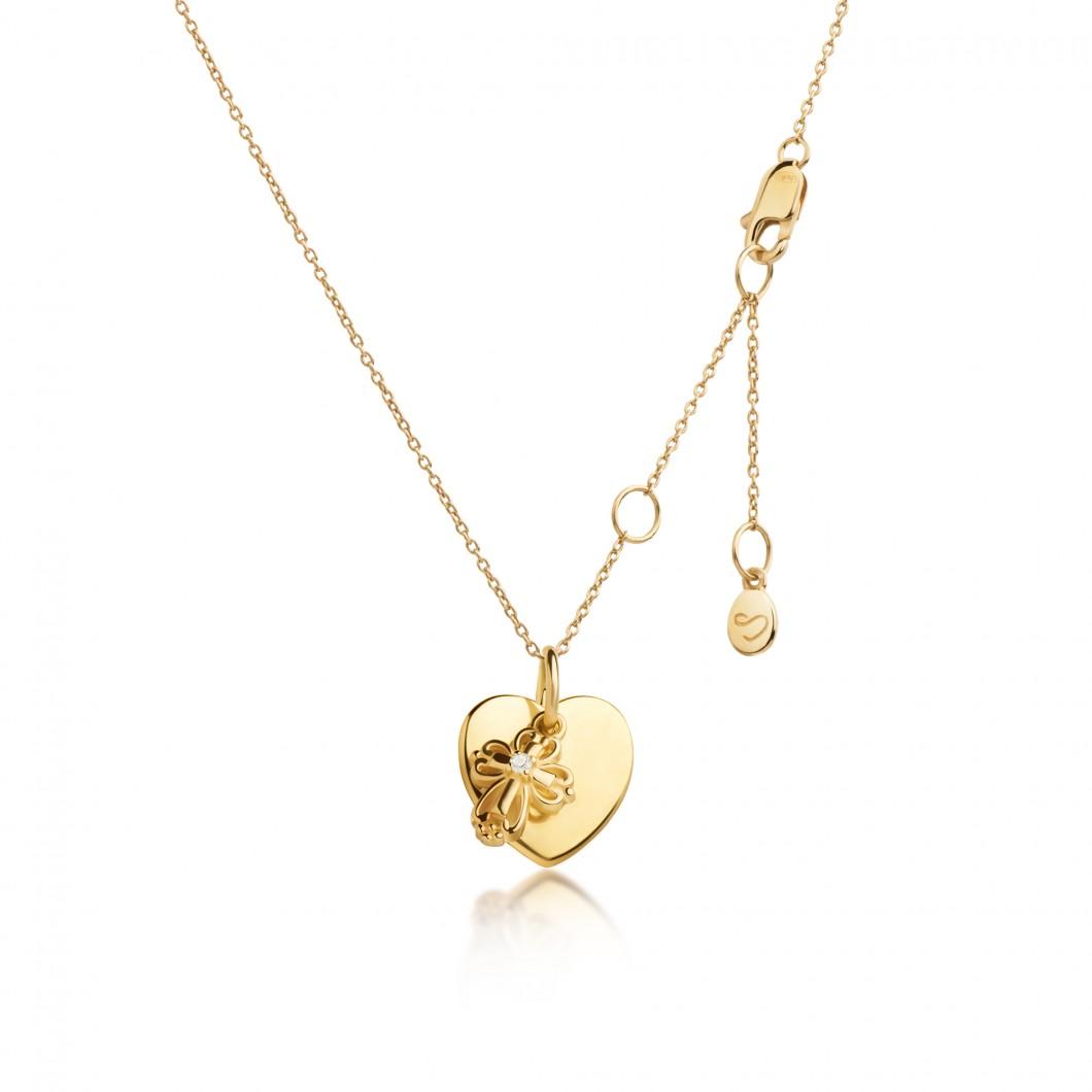 Подвеска «Сердце мини» с шармиком «Ажурный крестик» серебро 925