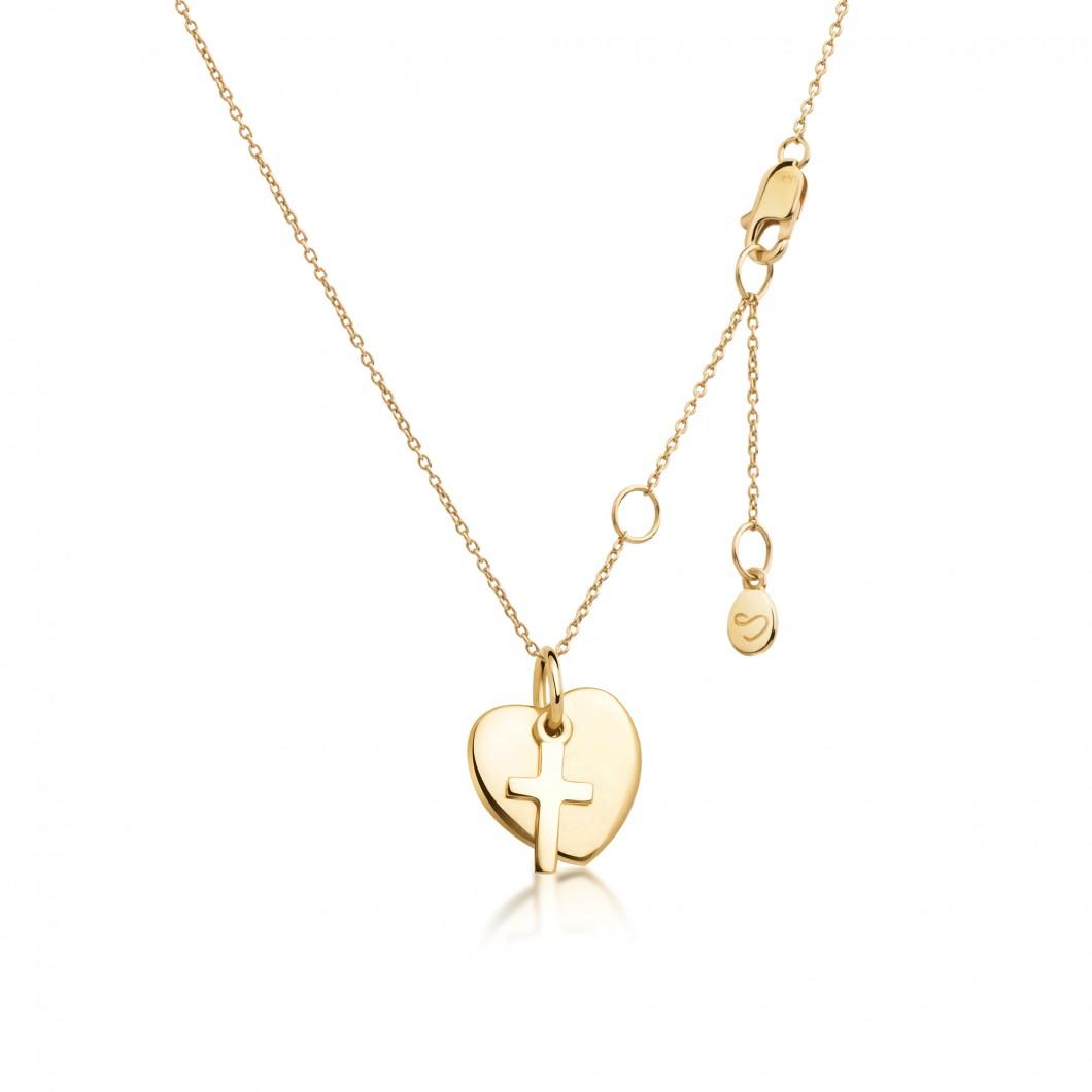 Подвеска «Маленькое сердце с шармиком крестик» серебро 925