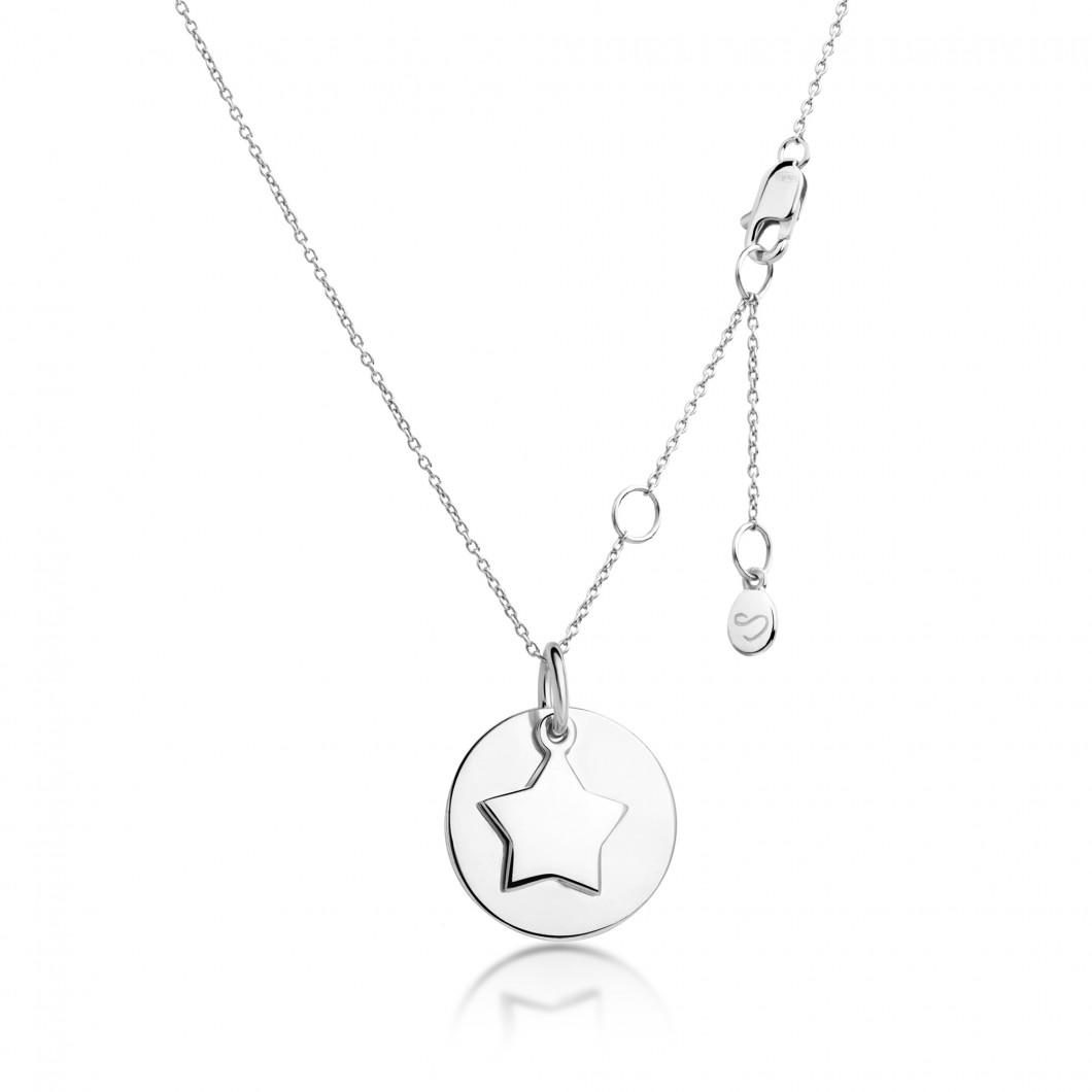 Подвеска «Круг с шармиком звездочка» серебро 925