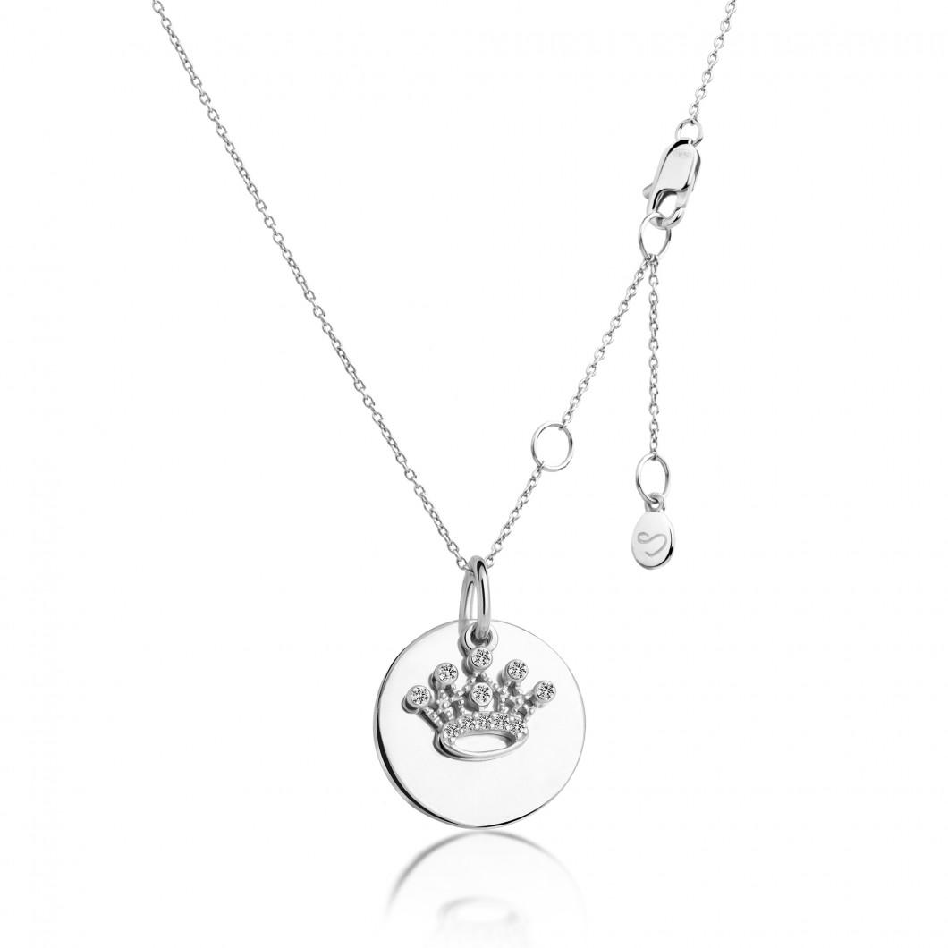 Подвеска «Круг» с шармиком «Корона» серебро 925