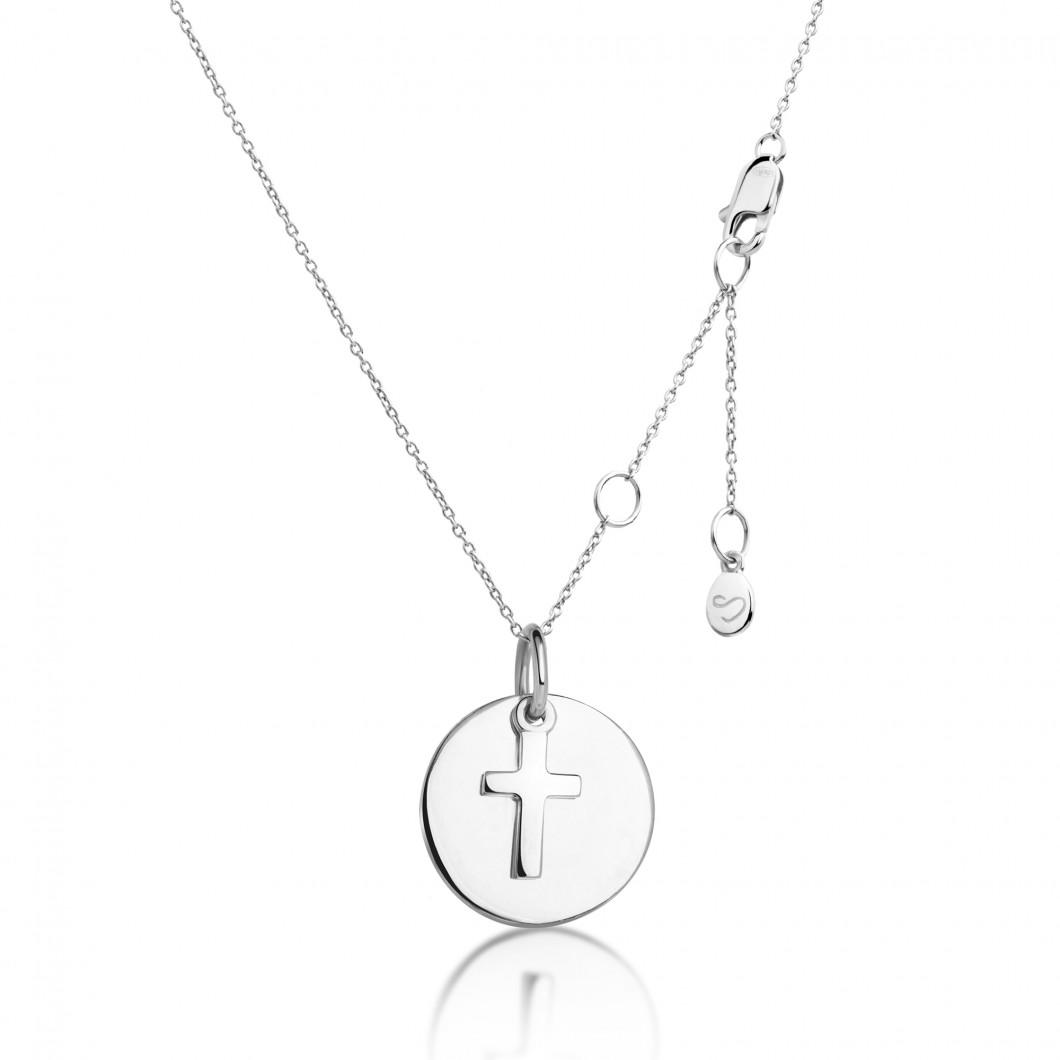 Подвеска «Круг» с шармиком «Крестик» серебро 925