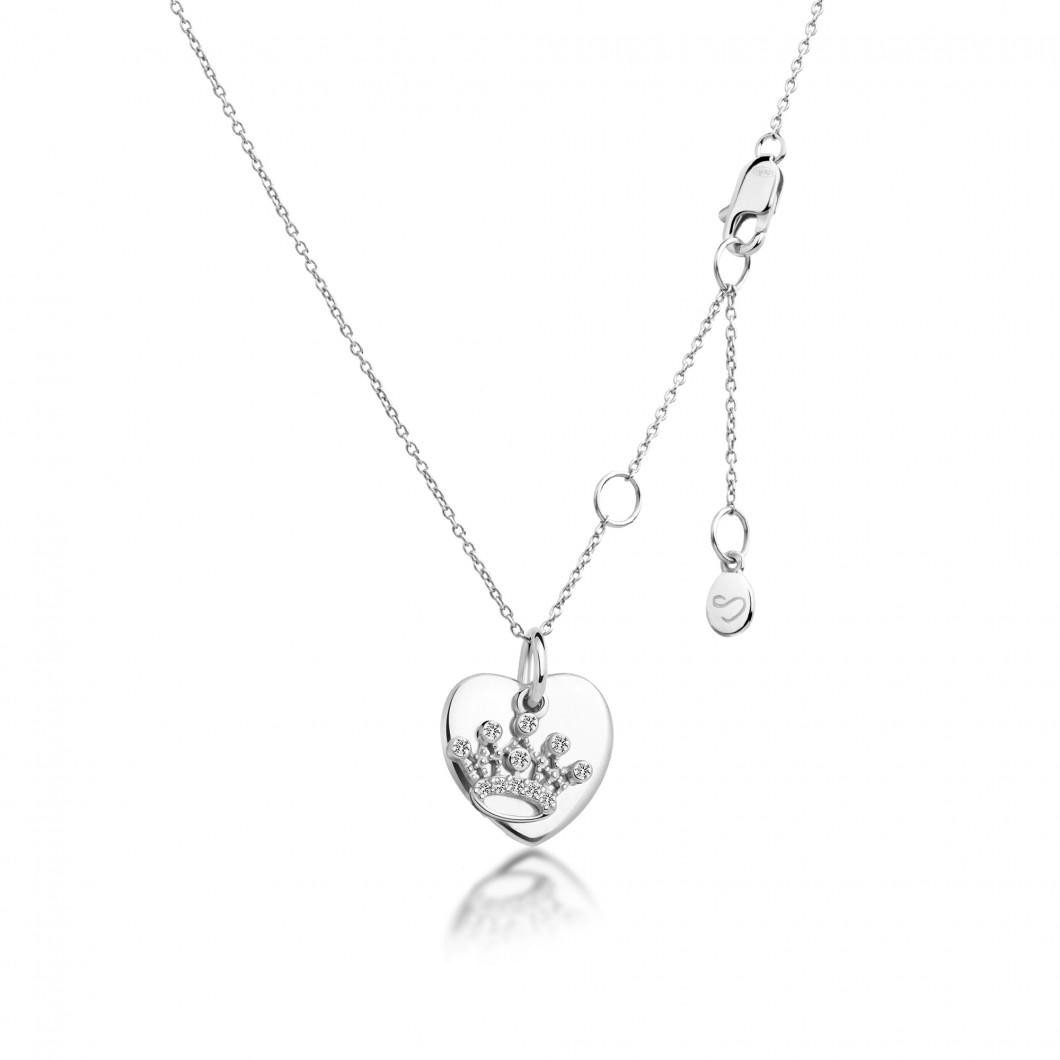 Подвеска «Сердце мини» с шармиком «Корона» серебро 925
