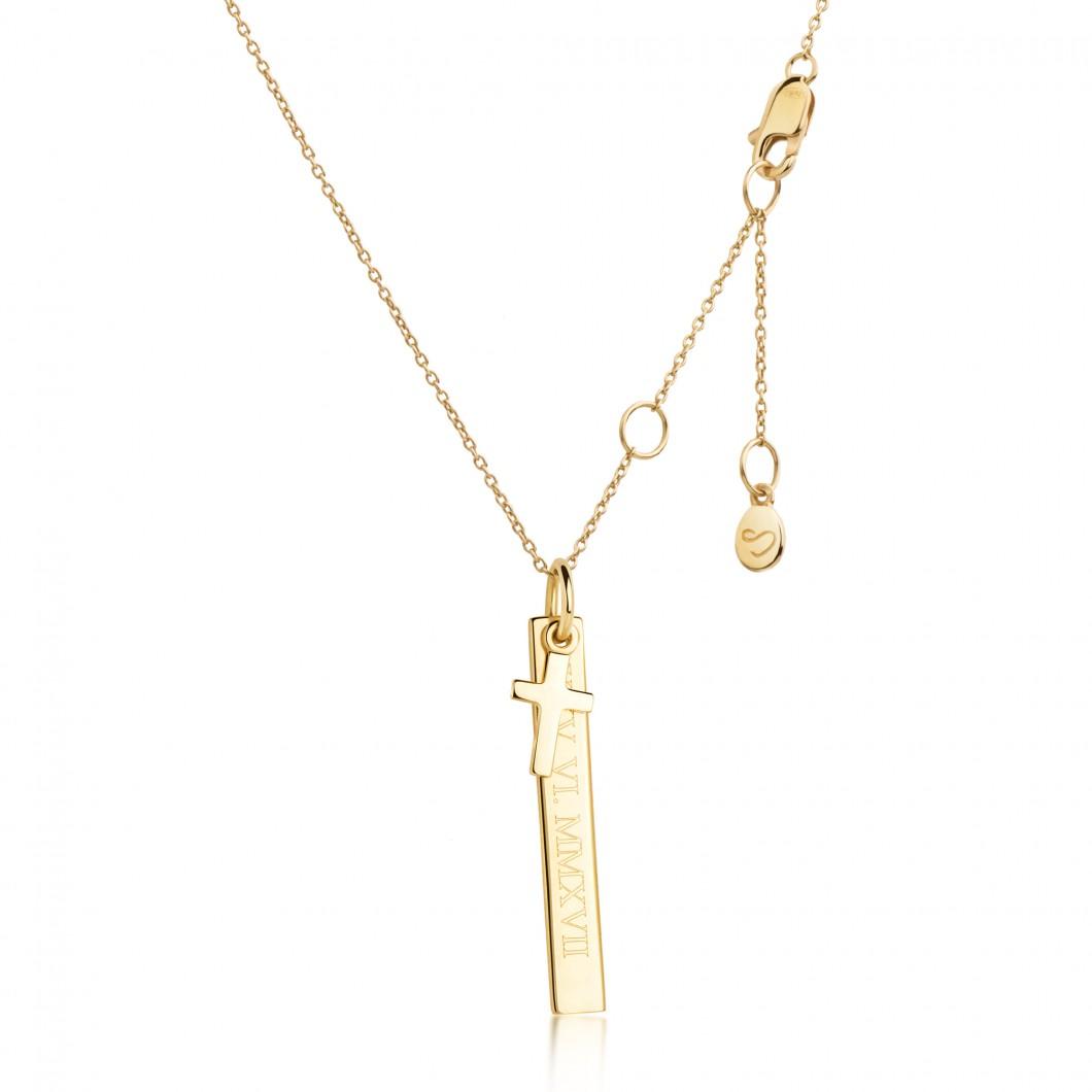 Кулон вертикальный с шармиком крестик серебро 925