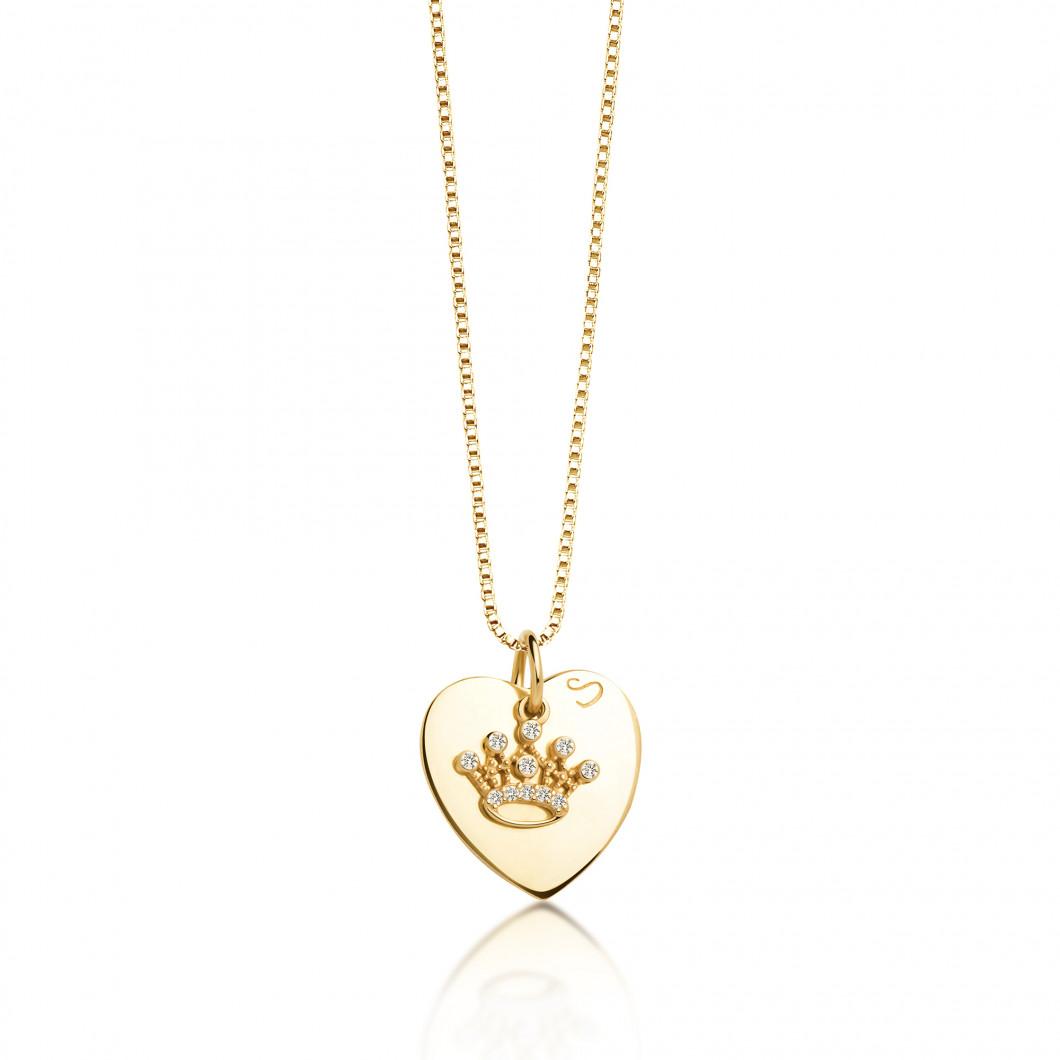 Подвеска «Сердце» с шармиком «Корона с камушками» серебро 925