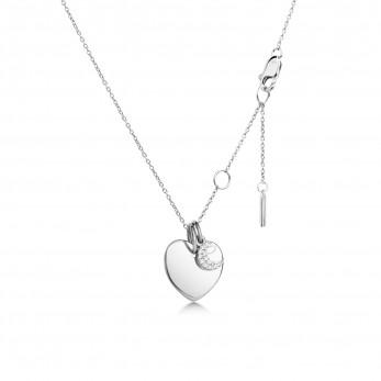 Подвеска «Маленькое сердце с шармиком месяц с камушками» серебро 925