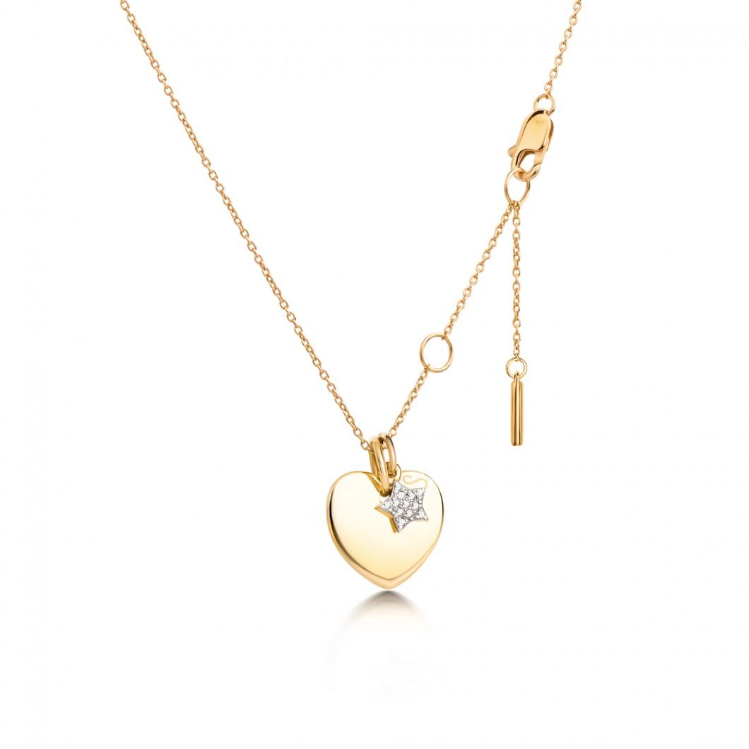 Подвеска «Сердце мини» с шармиком «Звездочка с камушками» серебро 925