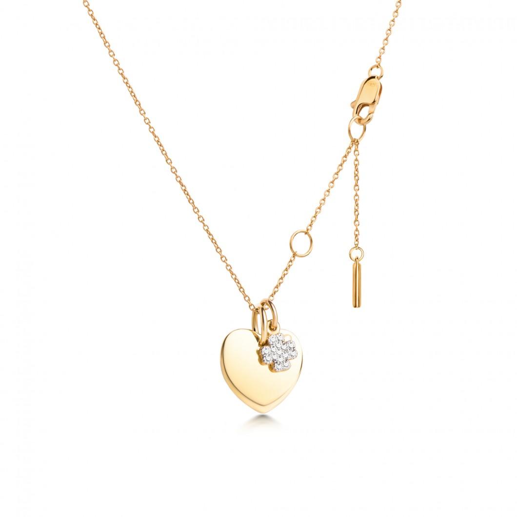 Подвеска «Маленькое сердце с шармиком клевер с камушками» серебро 925