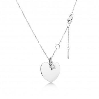 Подвеска «Сердце» с шармиком «Звёздочка с камушками» серебро 925