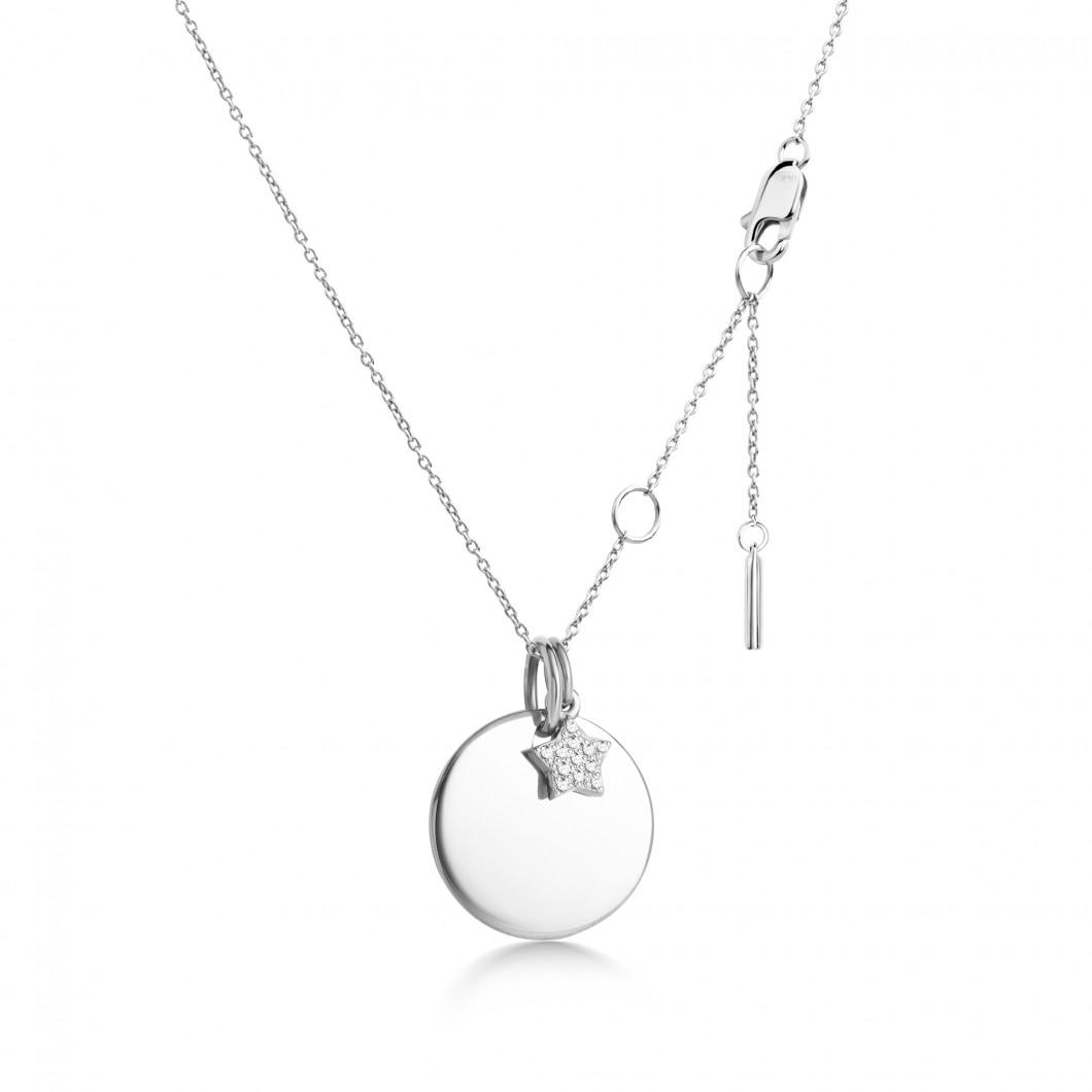 Подвеска «Круг с шармиком звездочка с камушками» серебро 925