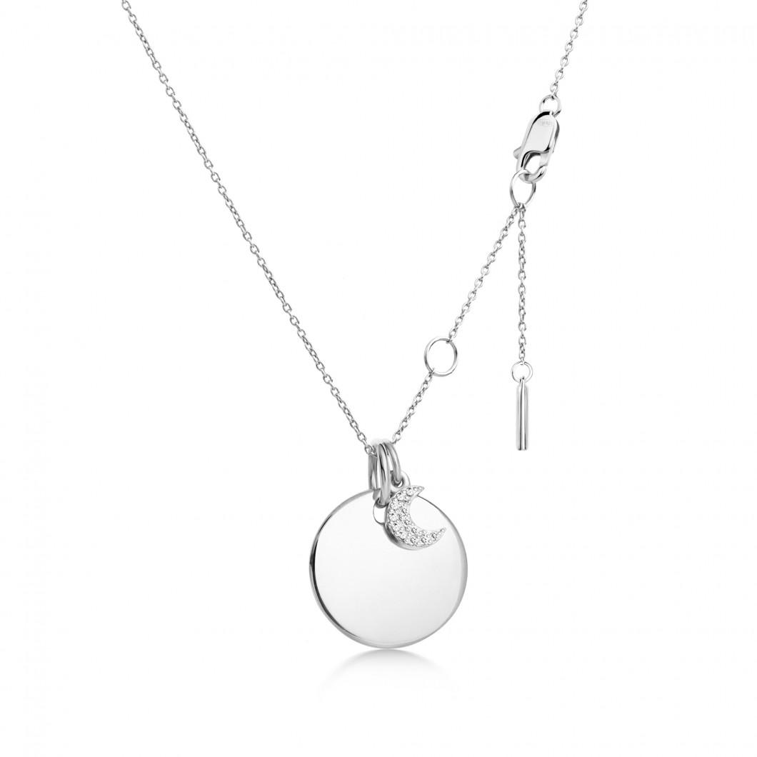 Подвеска «Круг» с шармиком «Месяц с камушками» серебро 925