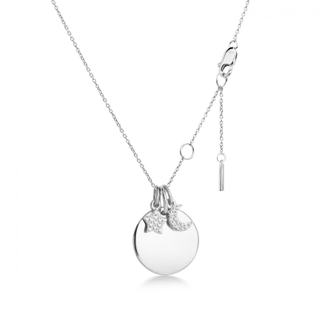 Подвеска «Круг» с шармиками «Месяц и звездочка с камушками» серебро 925