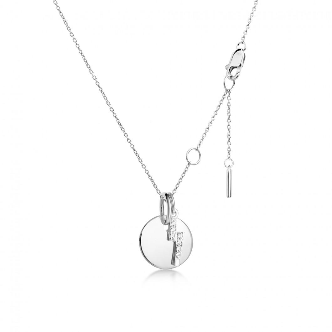 Подвеска «Круг мини» с шармиком «Молния с камушками» серебро 925