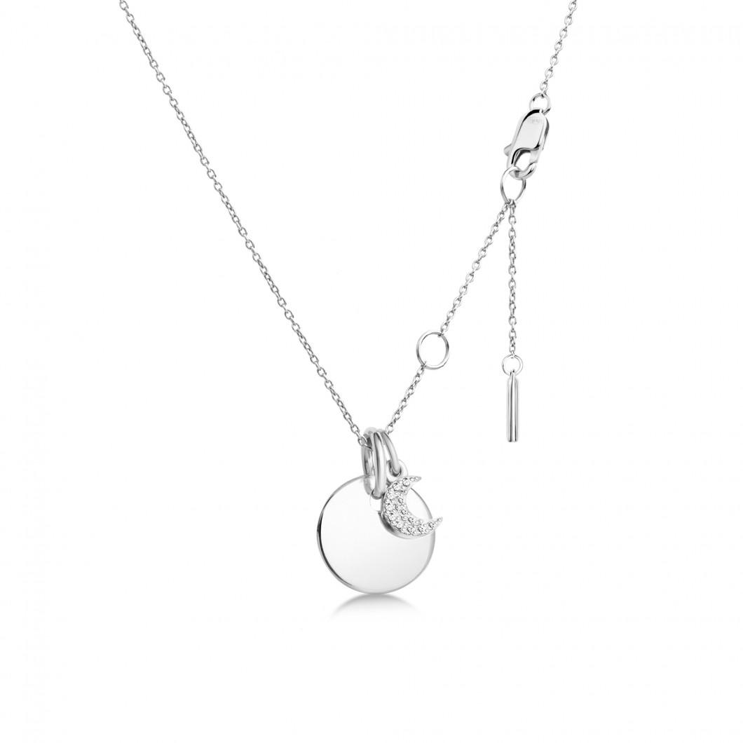 Подвеска «Круг мини» с шармиком «Месяц с камушками» серебро 925