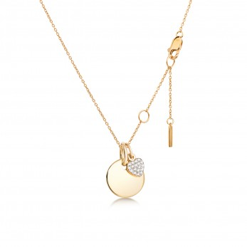 Подвеска «Круг мини» с шармиком «Сердце с камушками» серебро 925