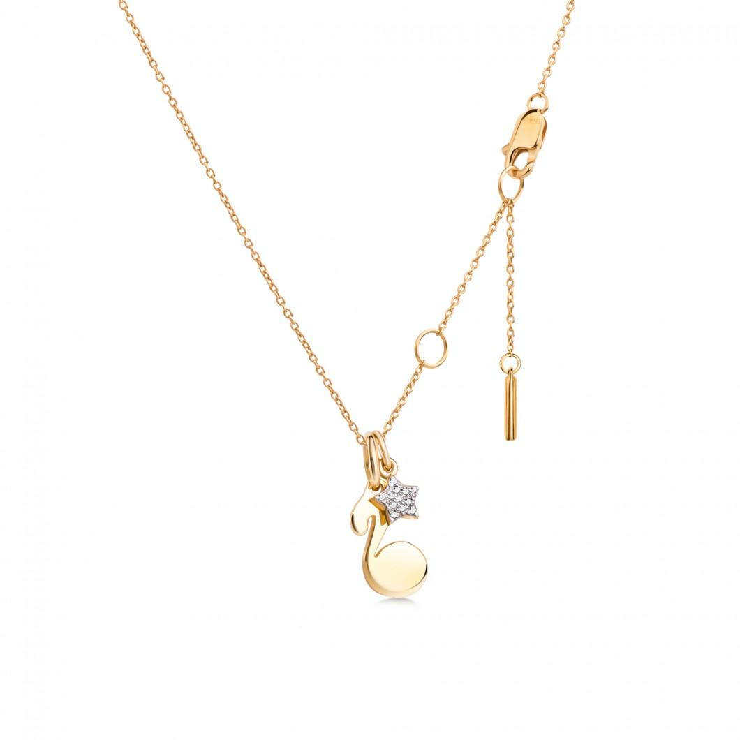 Подвеска «Нотка» с шармиком «Звездочка с камушками» серебро 925