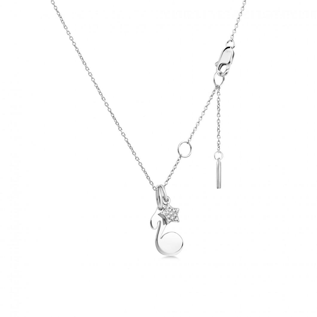 Подвеска «Нотка с шармиком звездочка с камушками» серебро 925