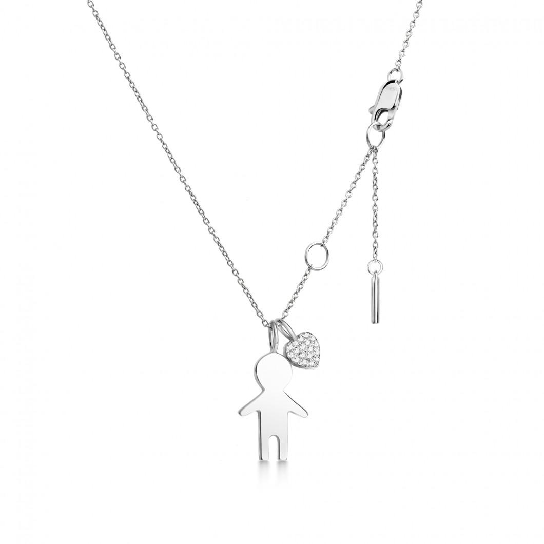 Подвеска «Мальчик» с шармиком «Сердце с камушками» серебро 925