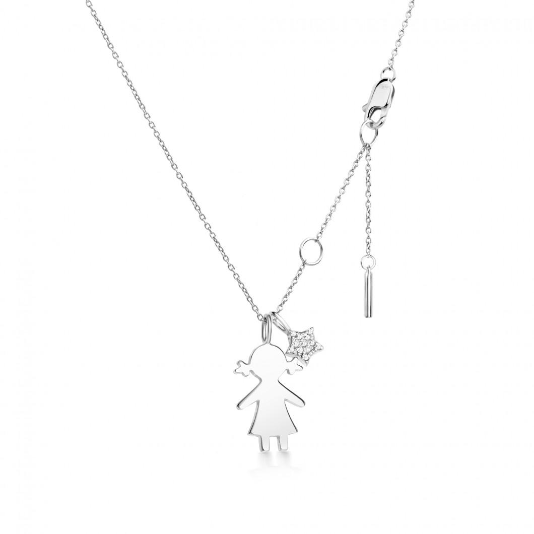 Подвеска «Девочка с шармиком звездочка с камушками» серебро 925