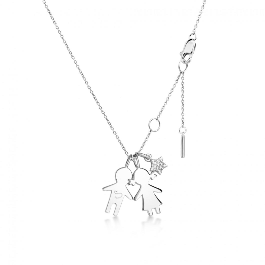 Подвеска «Девочка и мальчик» с шармиком «Звездочка с камушками» серебро 925
