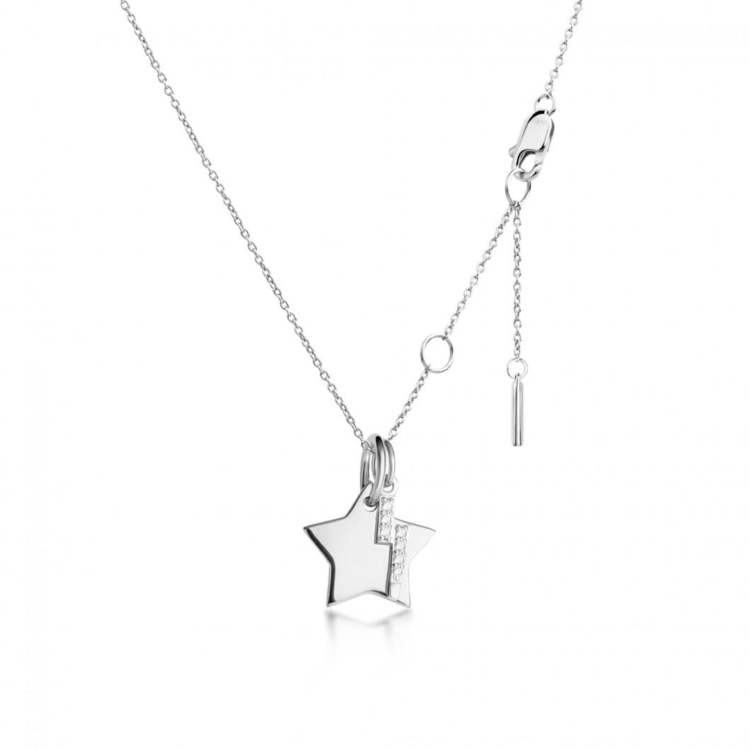 Подвеска «Звезда мини» с шармиком «Молния с камушками» серебро 925