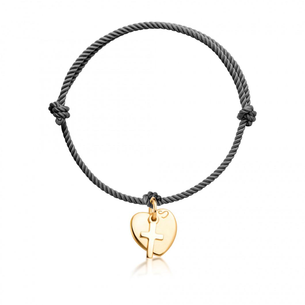 Браслет с подвеской «Сердце мини» и шармиком «Крестик»