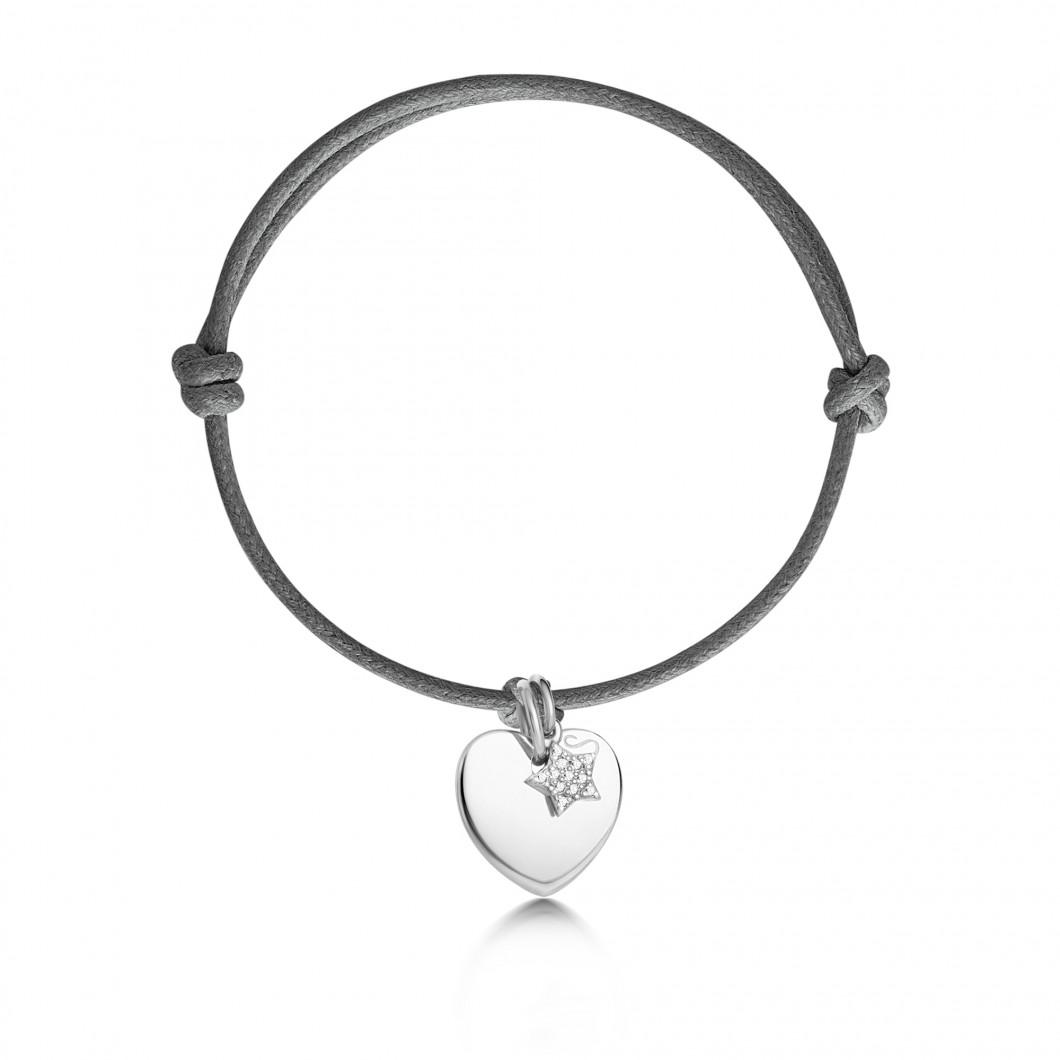 Браслет «Сердце мини» с шармиком «Звездочка с камушками»