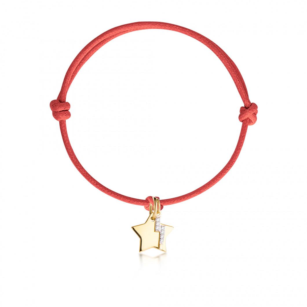 Браслет «Звезда мини» с шармиком «Mолния с камушками»