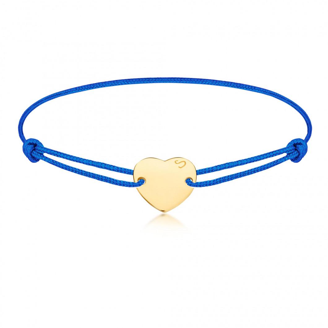 Браслет «Сердце пуговка» на тросике