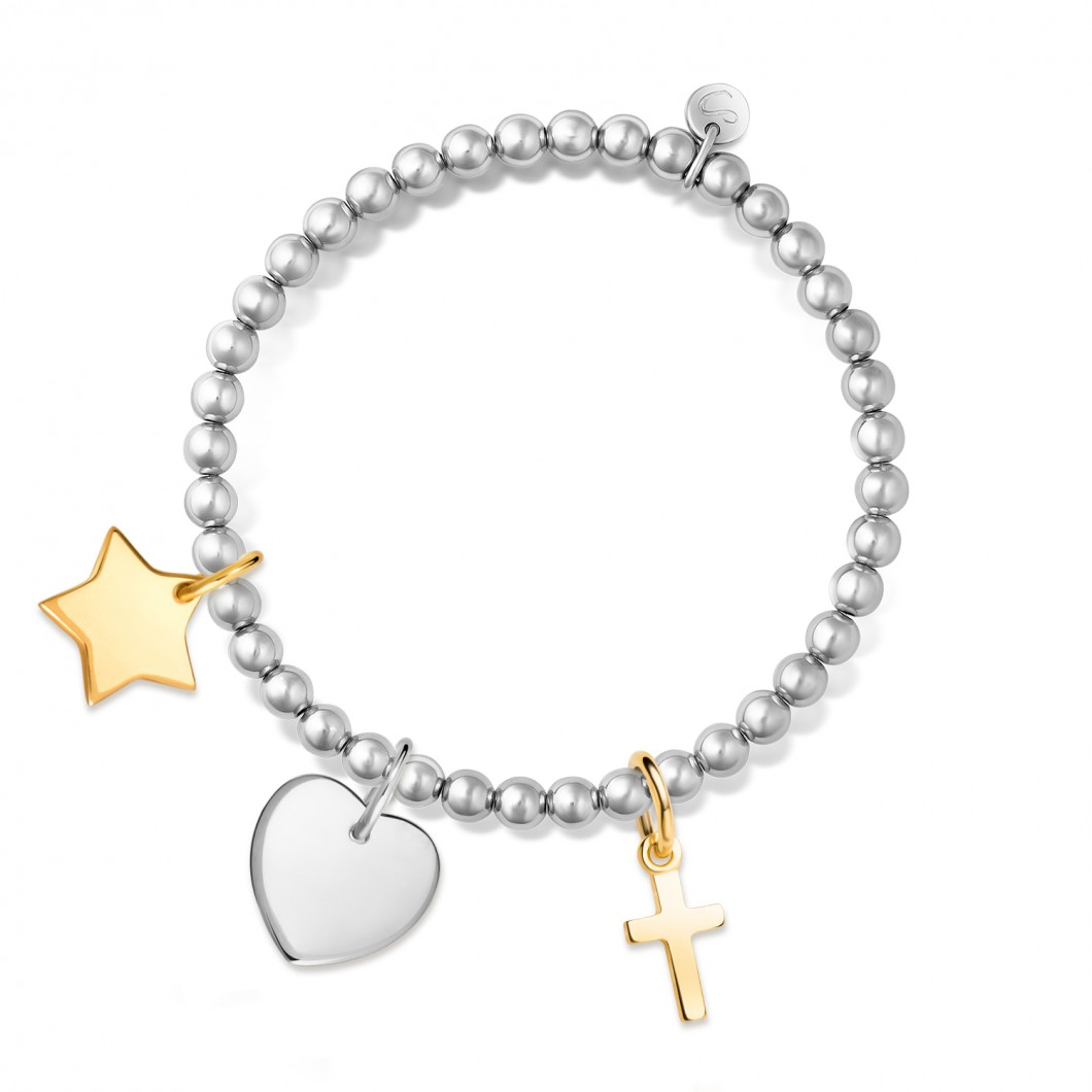 Браслет из бусин мини комплект «Звезда мини», «Сердце мини», »Крестик»