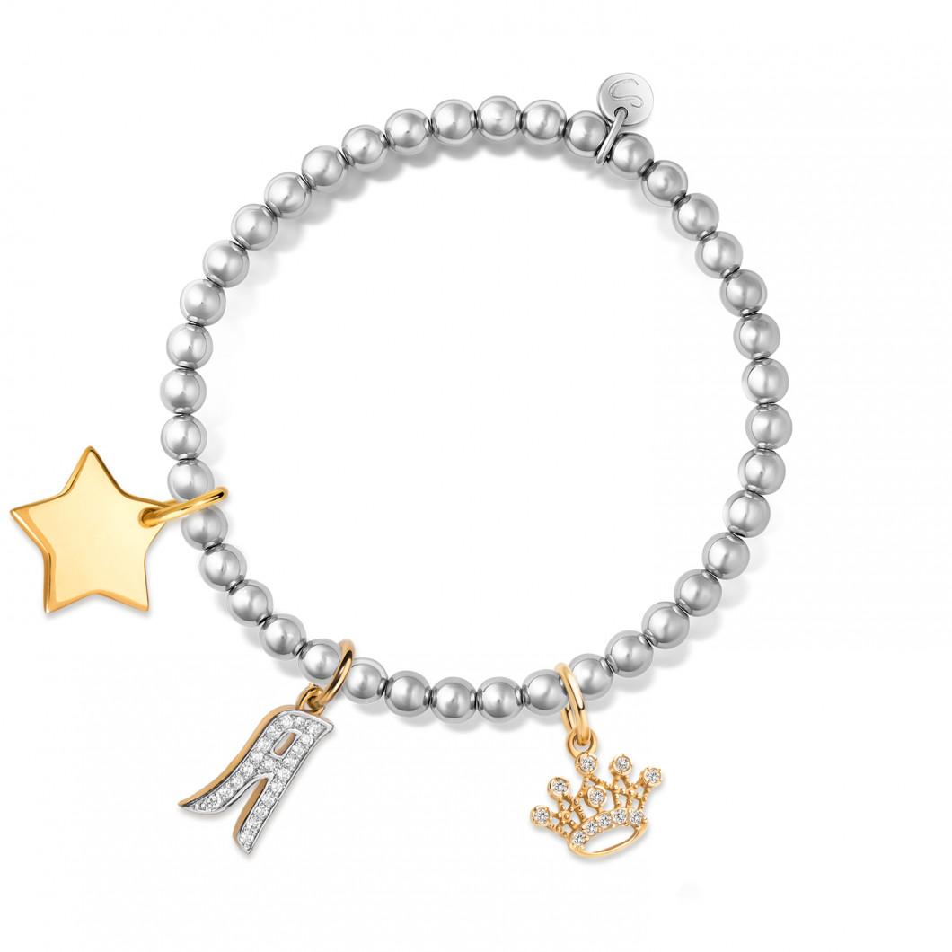 Браслет из бусин мини комплект «Звезда мини», буква «А», «Корона с камушками»