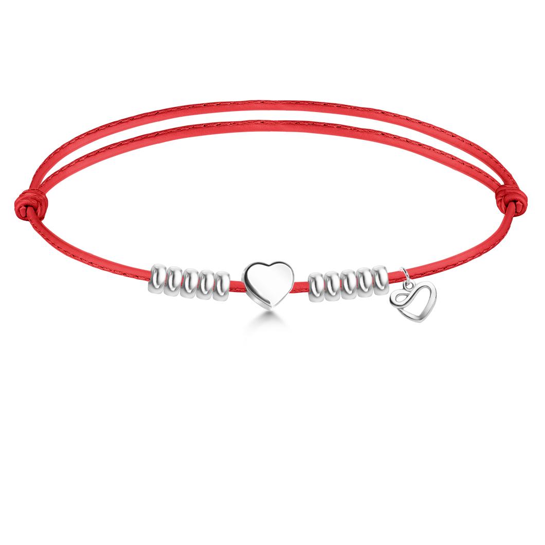 Браслет на кожаном тросике с шармиком «Сердце»