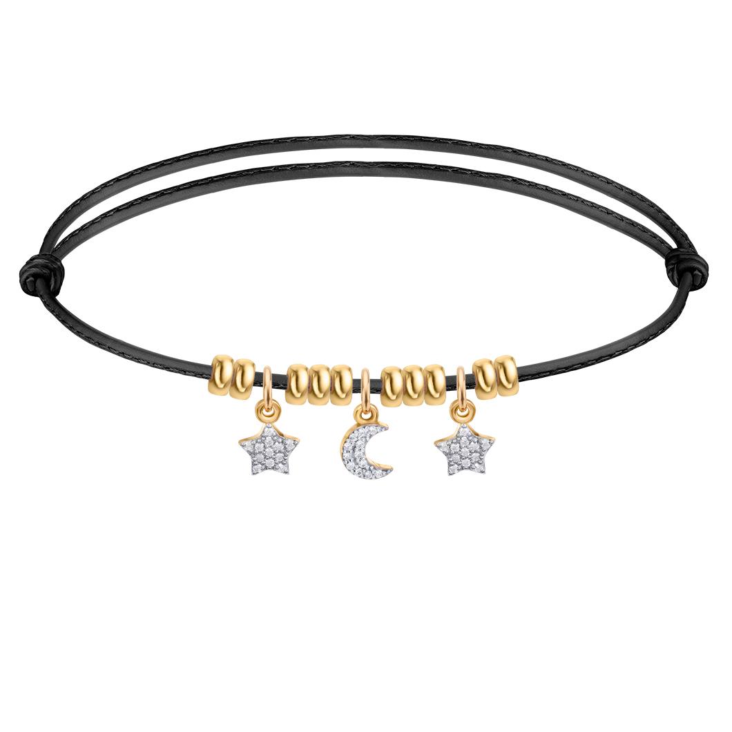 Браслет на кожаном тросике с подвесными шармиками «Созвездие»