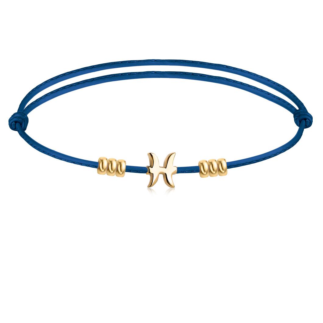 Знак зодиака «Рыбы» на кожаном тросике