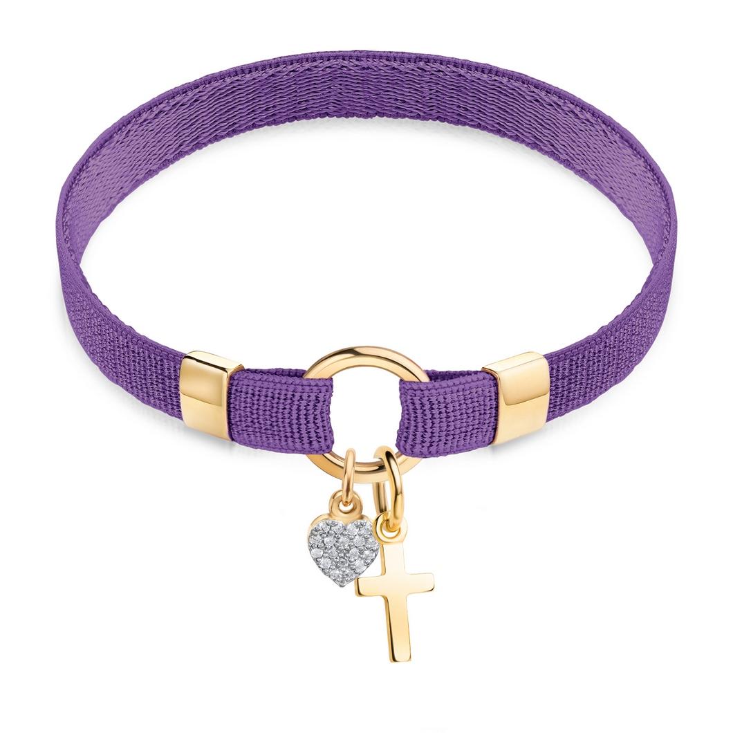 Браслет «Polo» на ленте с шармиками «Сердце» и «Крестик»
