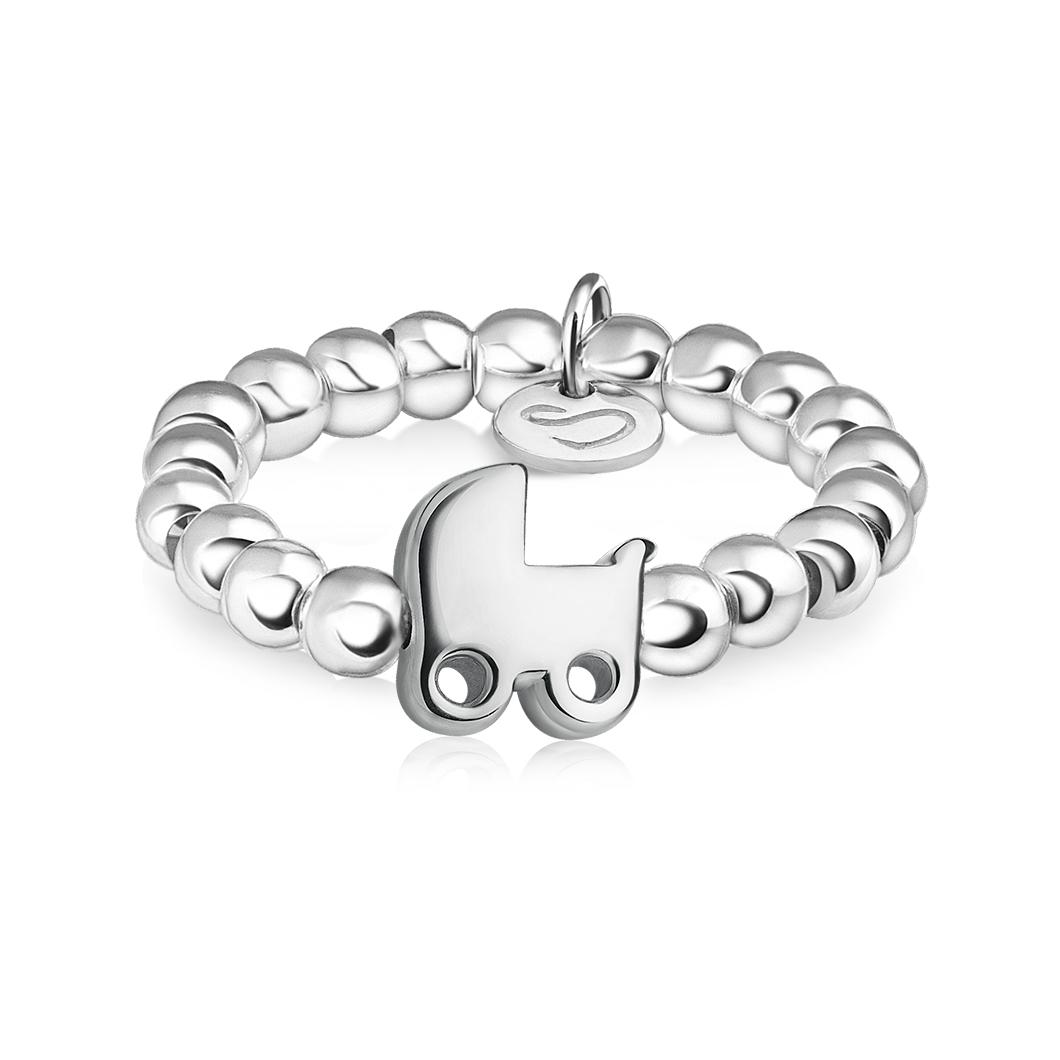 Кольцо из бусин «Детская колясочка»